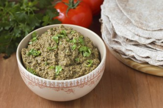 Baba ghanoush - dish of Arabic cuisine made of eggplants and tah